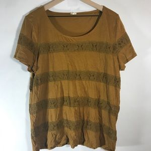 J Crew | Mustard Lace Striped Tissue Tee